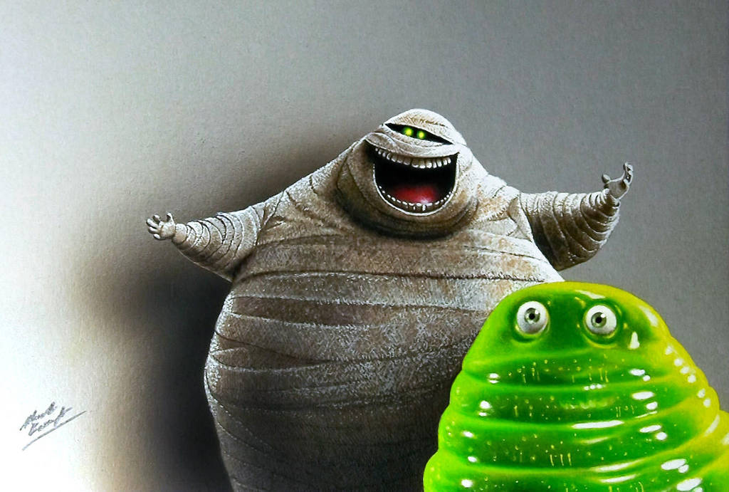 Drawing Mummy and Blob from Hotel Transylvania by marcellobarenghi