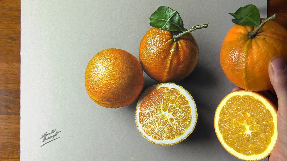 Drawing vs Real Oranges by marcellobarenghi