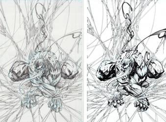 Venom Pencils vs Inks by Sandoval-Art