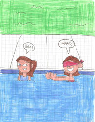Kathy and Maria playing Marco Polo in the big pool by matiriani28