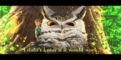 Owl and Boy scene by aldiabujan