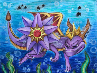 Aquaria - Spyro the Dragon and Starmie by BelievingIsSeeing