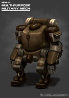 Military Mech Concept by cjcenteno
