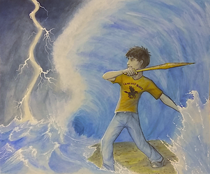 Illustration Commission 1 of 3 - Percy Jackson by TheMeekWarrior