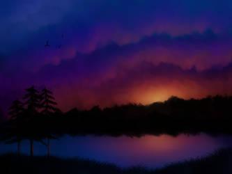 River at Sunset by KazeSkyfox