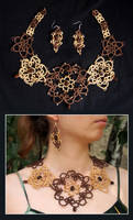 Morning Coffee - tatted jewelry set by MirachRavaia