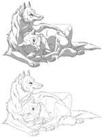 Cuddle Lineart by GermanDark