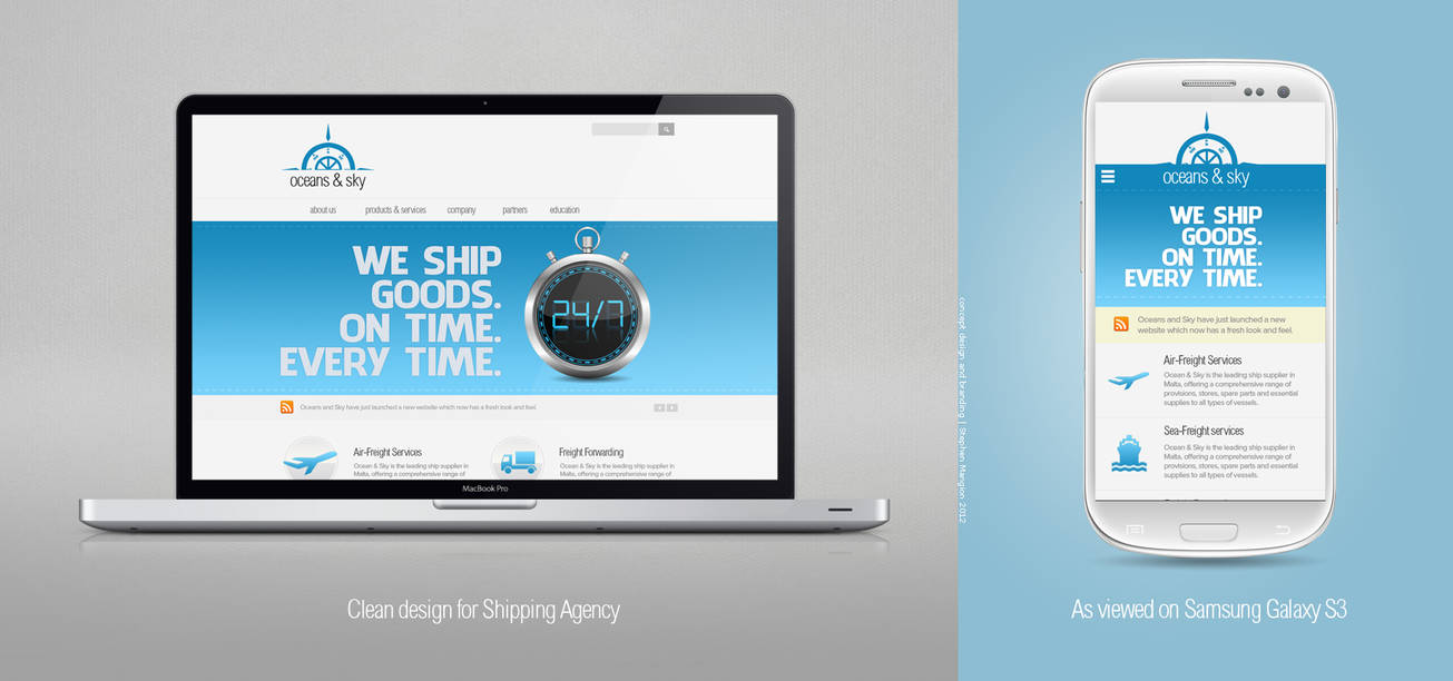 Ocean and Sky Web design and development by mangion