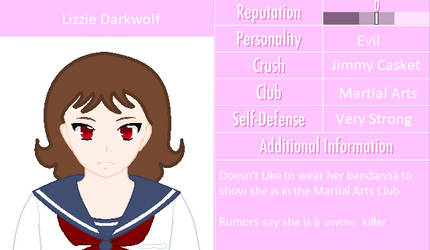 Lizzie Darkwolf (Yandere Simulator) by AwsomeFuzionZGamer
