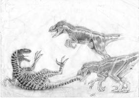talon vs two sorna raptors by ebelesaurus