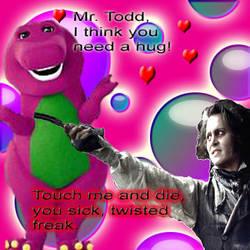 Barney meets Sweeney Todd by ShadowAuroras