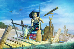 Witch on the beach by strigoides