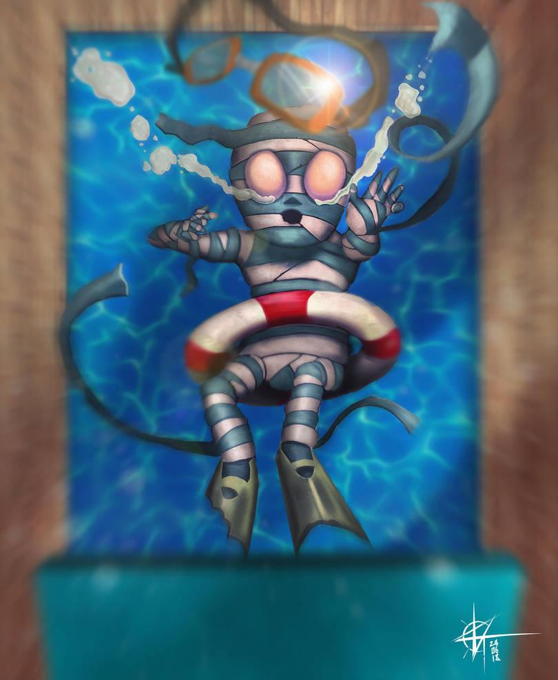 League Of Legends Pool Party Amumu [fanart] by KxG-WitcheR