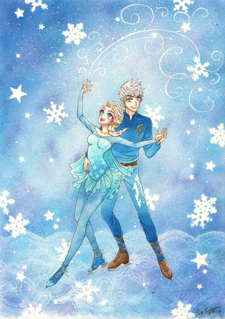 Jack Frost and Elsa Ice Skating by hyacinthess