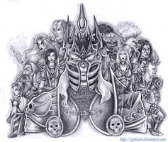 Arthas and his Death Knights by icyheart