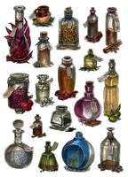 Bottles - watercolor by JuliaTar