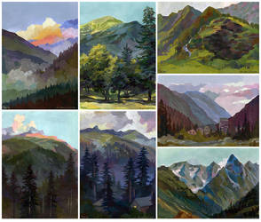 Caucasus mountains pleinair by JuliaTar