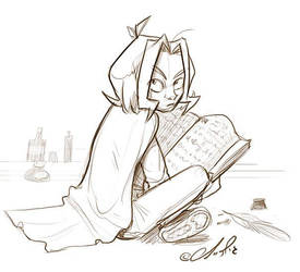 Young Sev reading  by gilll