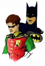 Batman and Robin by giantshrimp