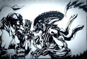 Hellboy vs Predalien by CarlosAcosta76