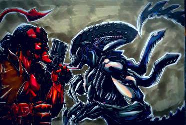 predalien vs Hellboy color by CarlosAcosta76