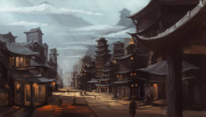 Concept Art: Asian Fantasy Citiscape by ESPj-o