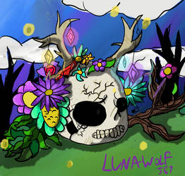 Skull and flowers by lunawolf567