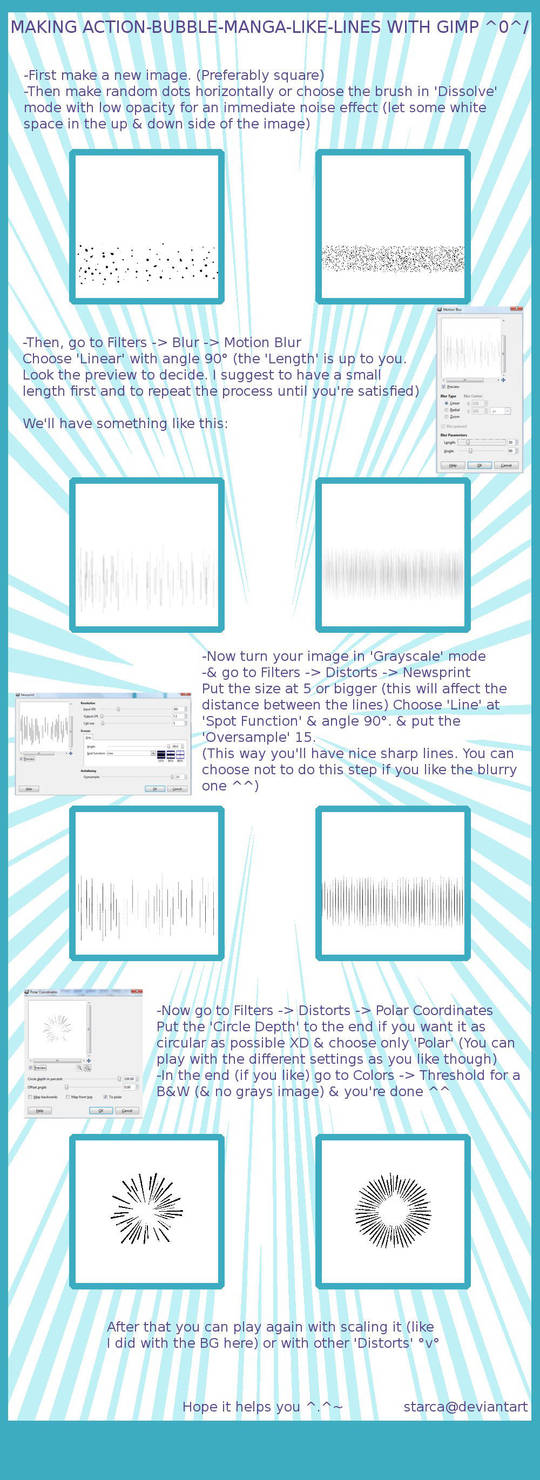 GIMP-Action Manga-like Lines by starca