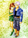 Commission: Trunks and Makoto by starca