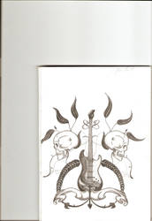 skulls and guitar by elena7akira
