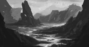 Landscape Practice (grayscale) by Kenshike1