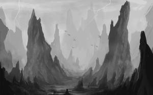 Landscape Practice (grayscale) 2 by Kenshike1