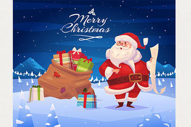 Funny santa with presents. Christmas greeting card by krolone
