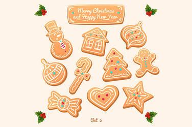Big set of vector gingerbread cookies by krolone