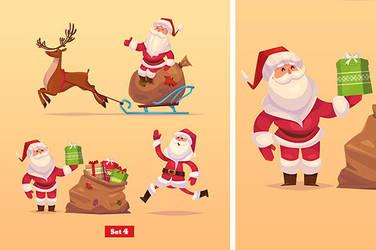 Set of Funny santa,deer and presents. by krolone