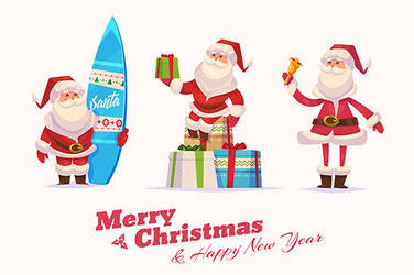 Set of Funny santa with bell, board and presents by krolone