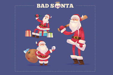 Set of the Bad Santa with presents by krolone