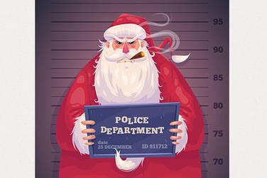 Bad Santa in police department. Christmas card by krolone