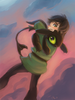 Hiccup and baby Toothless by hiraco