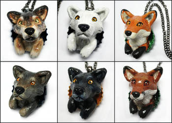 Wolf and Fox Bottle Cap Necklaces by LeiliaClay