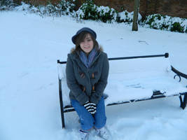 Me on a snowy bench by Colorful-Kaiya