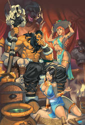 Contemplative Barbarian and Harem by AndronicusVII
