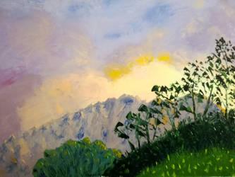 20180521 Coucher de Soleil sur la Montagne 50x61 by brunolito