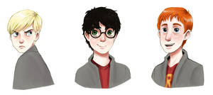 Draco, Harry, and Ron by courtneygodbey