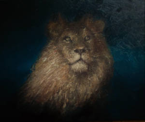 Lion Oil painting in progress by J.L. Blaylock by blaylockart
