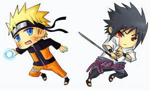 Naruto VS Sasuke Chibi by Kite-K