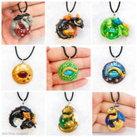 Clay Dragon Pendants by HowManyDragons