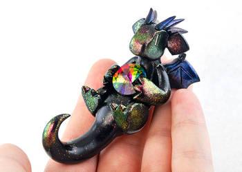 Reclining Black Rainbow Dragon by HowManyDragons