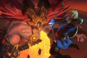 Link vs Fireblight Ganon by Rhasdra