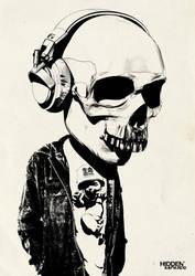 Bobblehead Skull + Headphones by hiddenmoves